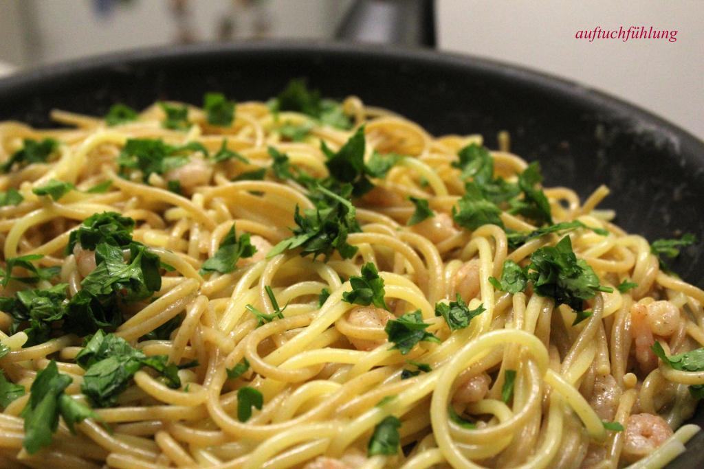 Spaghetti Carbonara-ohne-Speck-dafür-mit-Shrimps