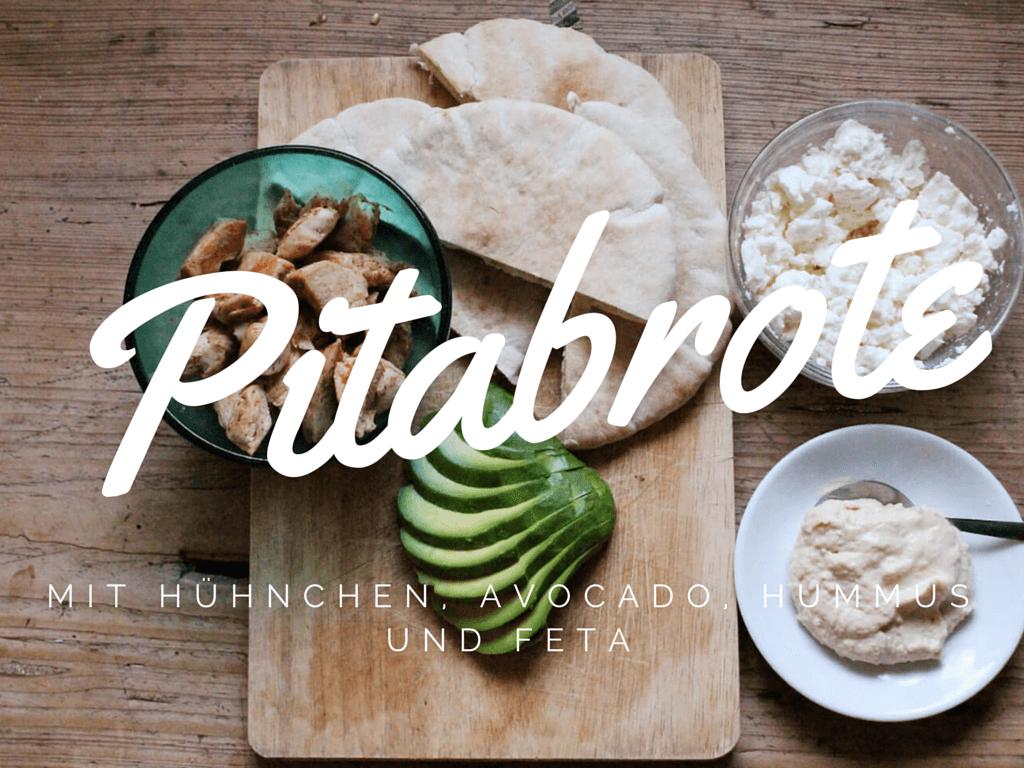 Pitabrot mit Hähnchen, Avocado, Hummus und Feta
